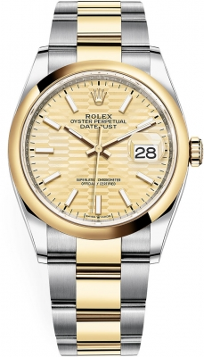 Rolex Datejust 36mm Stainless Steel and Yellow Gold 126203 Golden Fluted Oyster