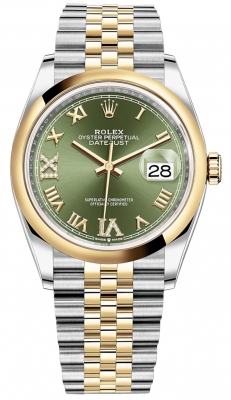 Rolex Datejust 36mm Stainless Steel and Yellow Gold 126203 Olive Green VI IX Roman Jubilee