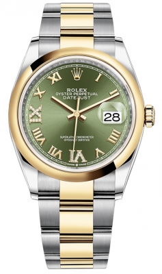 Rolex Datejust 36mm Stainless Steel and Yellow Gold 126203 Olive Green VI IX Roman Oyster