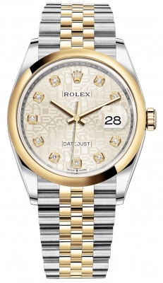 Rolex Datejust 36mm Stainless Steel and Yellow Gold 126203 Jubilee Silver Diamond Jubilee