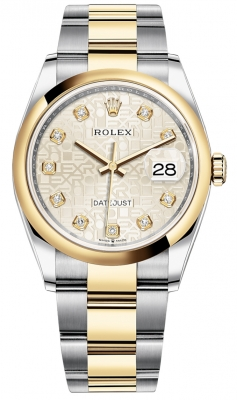 Rolex Datejust 36mm Stainless Steel and Yellow Gold 126203 Jubilee Silver Diamond Oyster