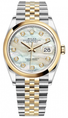 Rolex Datejust 36mm Stainless Steel and Yellow Gold 126203 MOP Diamond Jubilee