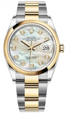 Rolex Datejust 36mm Stainless Steel and Yellow Gold 126203 MOP Diamond Oyster