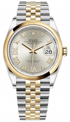 Rolex Datejust 36mm Stainless Steel and Yellow Gold 126203 Silver VI IX Roman Jubilee
