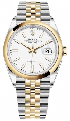 Rolex Datejust 36mm Stainless Steel and Yellow Gold 126203 White Index Jubilee