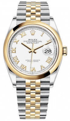 Rolex Datejust 36mm Stainless Steel and Yellow Gold 126203 White Roman Jubilee