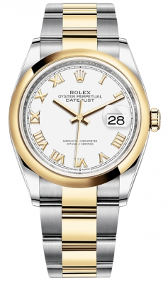 Rolex Datejust 36mm Stainless Steel and Yellow Gold 126203 White Roman Oyster