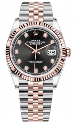 Rolex Datejust 36mm Stainless Steel and Rose Gold 126231 Black Diamond Jubilee