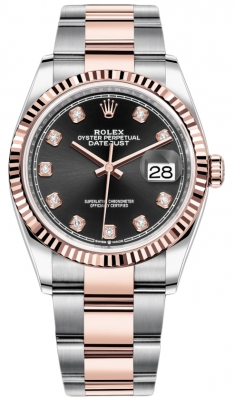 Rolex Datejust 36mm Stainless Steel and Rose Gold 126231 Black Diamond Oyster