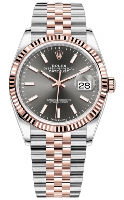 Rolex Datejust 36mm Stainless Steel and Rose Gold 126231 Dark Rhodium Index Jubilee