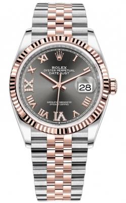 Rolex Datejust 36mm Stainless Steel and Rose Gold 126231 Dark Rhodium VI IX Roman Jubilee