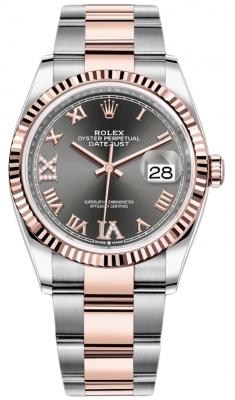 Rolex Datejust 36mm Stainless Steel and Rose Gold 126231 Dark Rhodium VI IX Roman Oyster