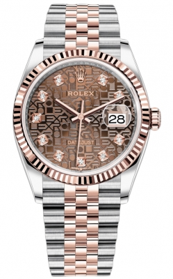 Rolex Datejust 36mm Stainless Steel and Rose Gold 126231 Jubilee Chocolate Diamond Jubilee