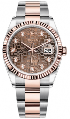 Rolex Datejust 36mm Stainless Steel and Rose Gold 126231 Jubilee Chocolate Diamond Oyster