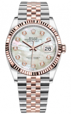 Rolex Datejust 36mm Stainless Steel and Rose Gold 126231 MOP Diamond Jubilee