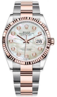 Rolex Datejust 36mm Stainless Steel and Rose Gold 126231 MOP Diamond Oyster