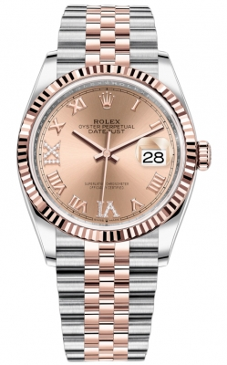 Rolex Datejust 36mm Stainless Steel and Rose Gold 126231 Rose VI IX Roman Jubilee