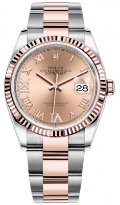 Rolex Datejust 36mm Stainless Steel and Rose Gold 126231 Rose VI IX Roman Oyster