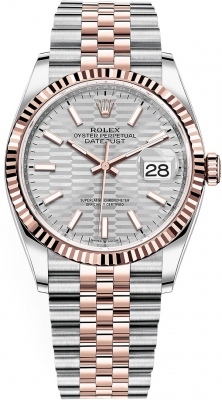 Rolex Datejust 36mm Stainless Steel and Rose Gold 126231 Silver Fluted Jubilee