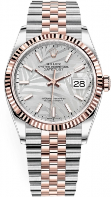 Rolex Datejust 36mm Stainless Steel and Rose Gold 126231 Silver Palm Jubilee