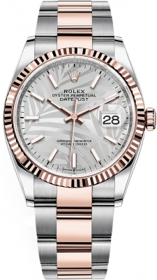 Rolex Datejust 36mm Stainless Steel and Rose Gold 126231 Silver Palm Oyster