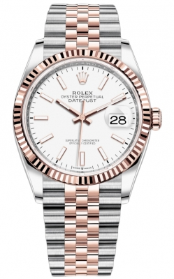 Rolex Datejust 36mm Stainless Steel and Rose Gold 126231 White Index Jubilee