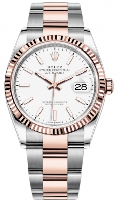 Rolex Datejust 36mm Stainless Steel and Rose Gold 126231 White Index Oyster