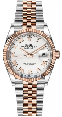 Rolex Datejust 36mm Stainless Steel and Rose Gold 126231 White Roman Jubilee