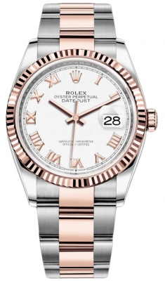 Rolex Datejust 36mm Stainless Steel and Rose Gold 126231 White Roman Oyster