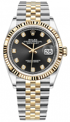 Rolex Datejust 36mm Stainless Steel and Yellow Gold 126233 Black Diamond Jubilee