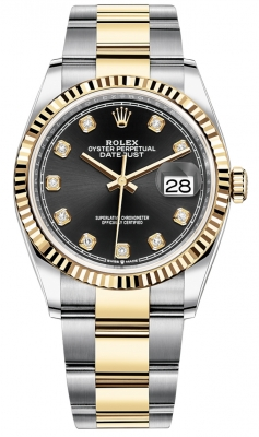 Rolex Datejust 36mm Stainless Steel and Yellow Gold 126233 Black Diamond Oyster