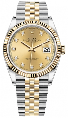 Rolex Datejust 36mm Stainless Steel and Yellow Gold 126233 Champagne Diamond Jubilee