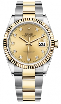 Rolex Datejust 36mm Stainless Steel and Yellow Gold 126233 Champagne Diamond Oyster