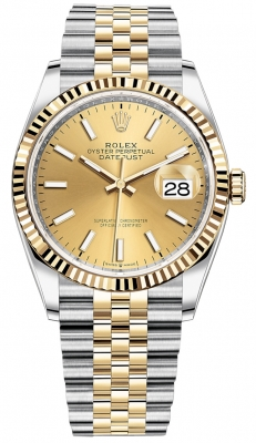 Rolex Datejust 36mm Stainless Steel and Yellow Gold 126233 Champagne Index Jubilee