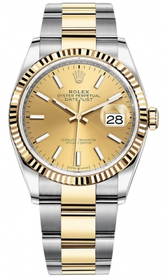 Rolex Datejust 36mm Stainless Steel and Yellow Gold 126233 Champagne Index Oyster