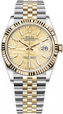 Rolex Datejust 36mm Stainless Steel and Yellow Gold 126233 Champagne Palm Jubilee