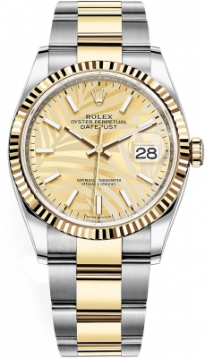 Rolex Datejust 36mm Stainless Steel and Yellow Gold 126233 Champagne Palm Oyster