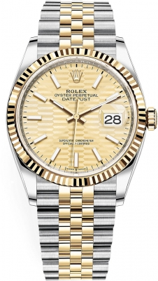Rolex Datejust 36mm Stainless Steel and Yellow Gold 126233 Golden Fluted Jubilee