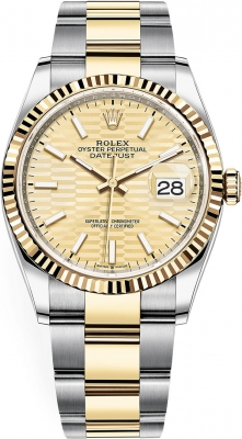Rolex Datejust 36mm Stainless Steel and Yellow Gold 126233 Golden Fluted Oyster