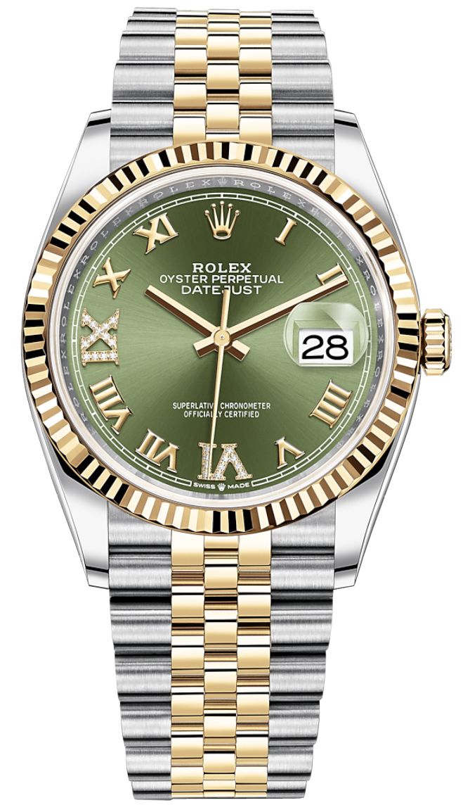 Rolex Datejust 36mm Stainless Steel and Yellow Gold 126233 Olive Green VI  IX Roman Jubilee
