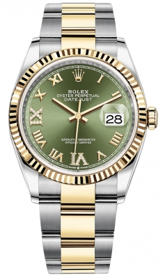 Rolex Datejust 36mm Stainless Steel and Yellow Gold 126233 Olive Green VI IX Roman Oyster