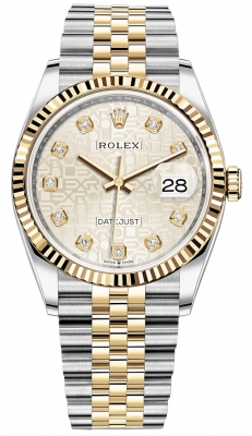 Rolex Datejust 36mm Stainless Steel and Yellow Gold 126233 Jubilee Silver Diamond Jubilee