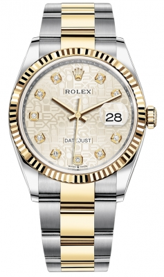 Rolex Datejust 36mm Stainless Steel and Yellow Gold 126233 Jubilee Silver Diamond Oyster