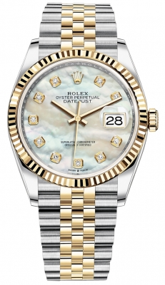 Rolex Datejust 36mm Stainless Steel and Yellow Gold 126233 MOP Diamond Jubilee