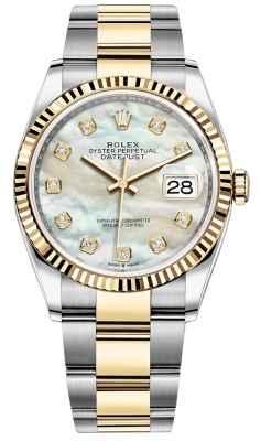 Rolex Datejust 36mm Stainless Steel and Yellow Gold 126233 MOP Diamond Oyster