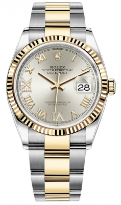 Rolex Datejust 36mm Stainless Steel and Yellow Gold 126233 Silver VI IX Roman Oyster