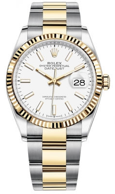 Rolex Datejust 36mm Stainless Steel and Yellow Gold 126233 White Index Oyster