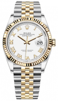 Rolex Datejust 36mm Stainless Steel and Yellow Gold 126233 White Roman Jubilee