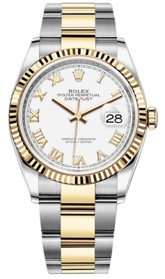 Rolex Datejust 36mm Stainless Steel and Yellow Gold 126233 White Roman Oyster