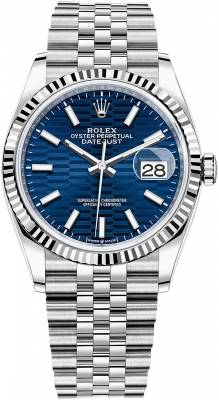 Rolex Datejust 36mm Stainless Steel 126234 Bright Blue Fluted Jubilee